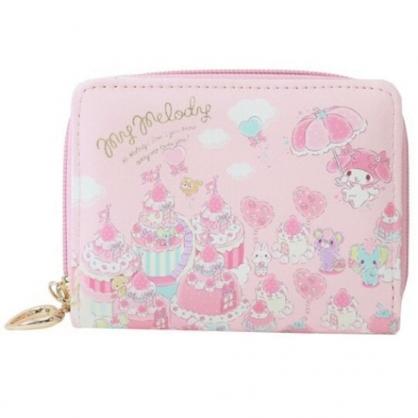 〔小禮堂〕美樂蒂 皮質扣式拉鍊短夾《粉.草莓雨傘》皮夾.錢包.零錢包