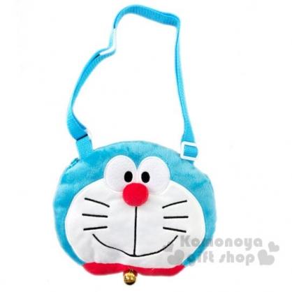 〔小禮堂〕哆啦A夢 兒童大臉造型絨毛拉鍊斜背包《藍白》側背包.隨身包