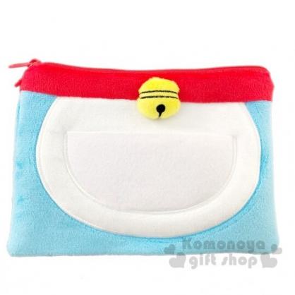 〔小禮堂〕哆啦A夢 方形絨毛拉鍊扁平化妝包《藍白.半身》筆袋.收納包