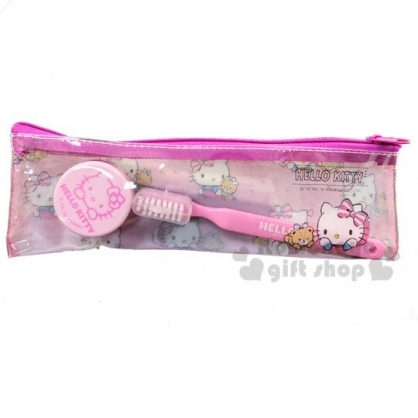 〔小禮堂〕Hello Kitty 旅行牙刷乳液盒組附收納袋《粉.小熊》盥洗用品.旅行用品