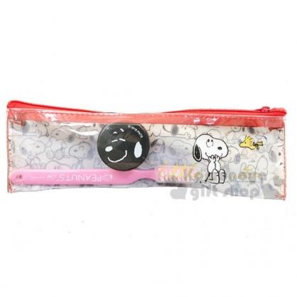 〔小禮堂〕史努比 旅行牙刷乳液盒組附收納袋《白.大臉》盥洗用品.旅行用品