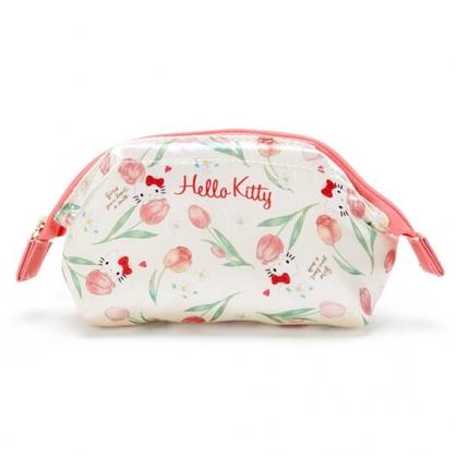 〔小禮堂〕Hello Kitty 硬式支架緞面拉鍊化妝包《米》萬用包.收納包.春日花園系列