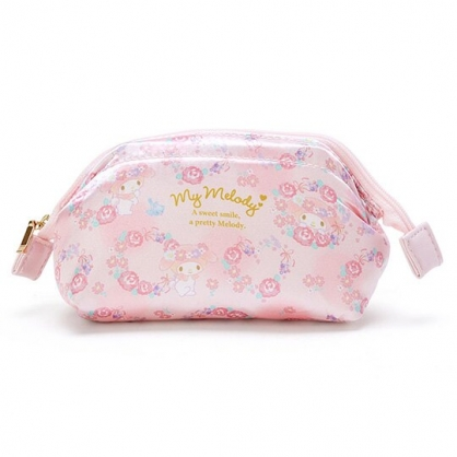 〔小禮堂〕美樂蒂 硬式支架緞面拉鍊化妝包《粉》萬用包.收納包.春日花園系列