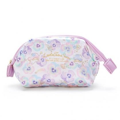 〔小禮堂〕雙子星 硬式支架緞面拉鍊化妝包《紫》萬用包.收納包.春日花園系列