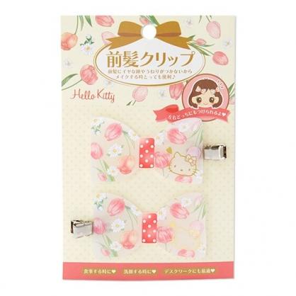 〔小禮堂〕Hello Kitty 蝴蝶結造型壓克力鐵製髮夾組《2入.紅》瀏海夾.髮飾.春日花園系列
