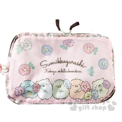 〔小禮堂〕角落生物 可折疊尼龍後背包《粉棕.花朵》環保袋.雙肩包.書包