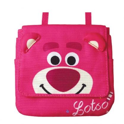 〔小禮堂〕迪士尼 玩具總動員 熊抱哥 兒童帆布夾式口袋包《桃.大臉》腰包.零錢包.收納包