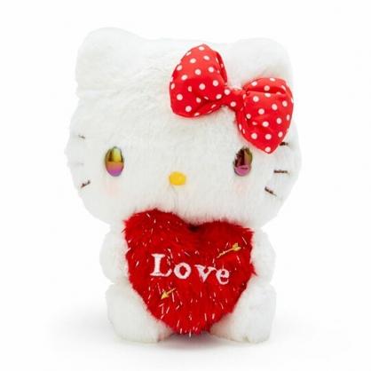 〔小禮堂〕Hello Kitty 絨毛玩偶娃娃《S.紅白.抱愛心》擺飾.玩具
