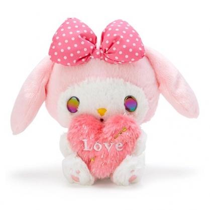 〔小禮堂〕美樂蒂 絨毛玩偶娃娃《S.粉白.抱愛心》擺飾.玩具