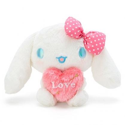 〔小禮堂〕大耳狗 絨毛玩偶娃娃《S.白粉.抱愛心》擺飾.玩具