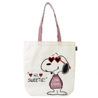 〔小禮堂〕史努比 帆布刺繡直式側背袋《米紅.愛心墨鏡》肩背袋.手提袋