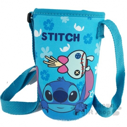 〔小禮堂〕迪士尼 史迪奇 潛水布斜背水壺袋《藍.半臉》500-600ml.杯套.水瓶袋