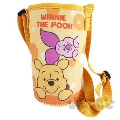 〔小禮堂〕迪士尼 小熊維尼 潛水布斜背水壺袋《黃.半臉》500-600ml.杯套.水瓶袋