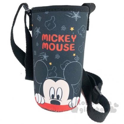 〔小禮堂〕迪士尼 米奇 潛水布斜背水壺袋《黑.半臉》500-600ml.杯套.水瓶袋