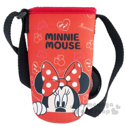 〔小禮堂〕迪士尼 米妮 潛水布斜背水壺袋《紅.半臉》500-600ml.杯套.水瓶袋