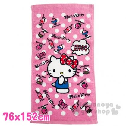 〔小禮堂〕Hello Kitty 純棉割絨大浴巾《粉白.點點》76x152cm.毛巾