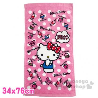 〔小禮堂〕Hello Kitty 純棉割絨長毛巾《M.粉白.點點》34x76cm.長巾.兒童毛巾
