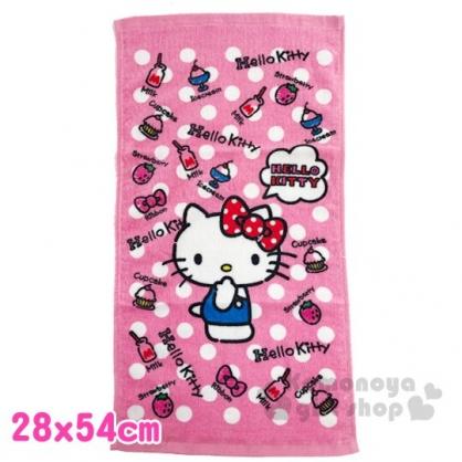 〔小禮堂〕Hello Kitty 純棉割絨長毛巾《S.粉白.點點》28x54cm.長巾.兒童毛巾