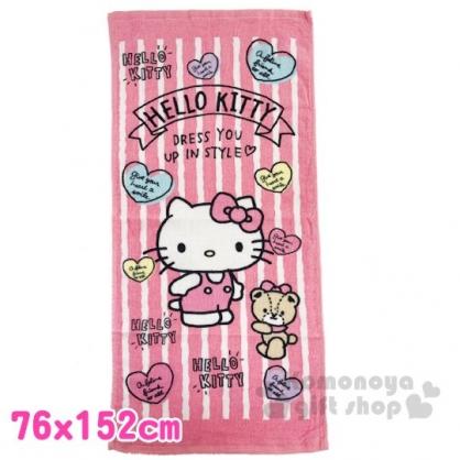 〔小禮堂〕Hello Kitty 純棉割絨大浴巾《粉白.直紋》76x152cm.毛巾