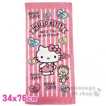 〔小禮堂〕Hello Kitty 純棉割絨長毛巾《M.粉白.直紋》34x76cm.長巾.兒童毛巾