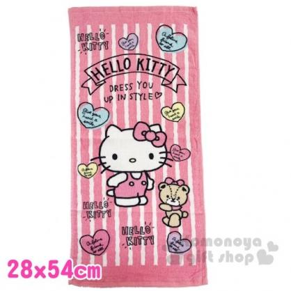 〔小禮堂〕Hello Kitty 純棉割絨長毛巾《S.粉白.直紋》28x54cm.長巾.兒童毛巾