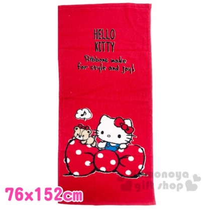〔小禮堂〕Hello Kitty 純棉割絨大浴巾《紅白.蝴蝶結》76x152cm.毛巾