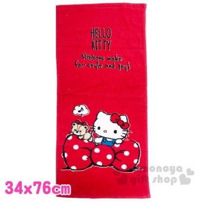 〔小禮堂〕Hello Kitty 純棉割絨長毛巾《M.紅白.蝴蝶結》34x76cm.長巾.兒童毛巾