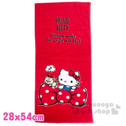 〔小禮堂〕Hello Kitty 純棉割絨長毛巾《S.紅白.蝴蝶結》28x54cm.長巾.兒童毛巾