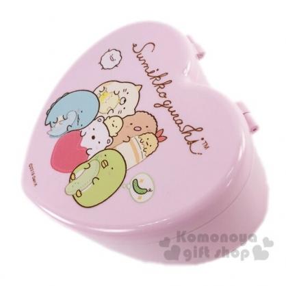 〔小禮堂〕角落生物 愛心造型塑膠掀蓋收納盒附鏡《粉.玩偶》飾品盒.珠寶盒
