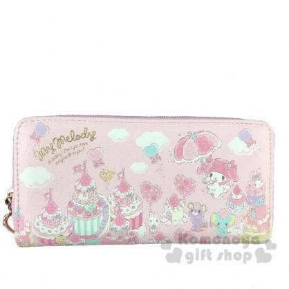 〔小禮堂〕美樂蒂 皮質拉鍊長夾《粉.草莓雨傘》皮包.皮夾.錢包
