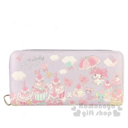 〔小禮堂〕美樂蒂 皮質拉鍊長夾《紫.草莓雨傘》皮包.皮夾.錢包