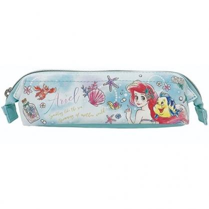 〔小禮堂〕迪士尼 小美人魚 硬式支架皮質拉鍊筆袋《綠白.側臉》化妝包.收納包.鉛筆盒