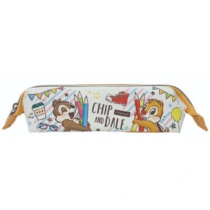 〔小禮堂〕迪士尼 奇奇蒂蒂 硬式支架皮質拉鍊筆袋《米橘.色鉛筆》化妝包.收納包.鉛筆盒