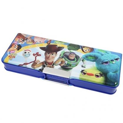 〔小禮堂〕迪士尼 玩具總動員4 雙開多功能鉛筆盒《藍黃.跑步》筆袋.學童文具