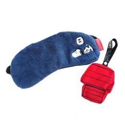〔小禮堂〕史努比 絨毛旅行用眼罩附收納包《紅藍.睡覺》居家.旅行