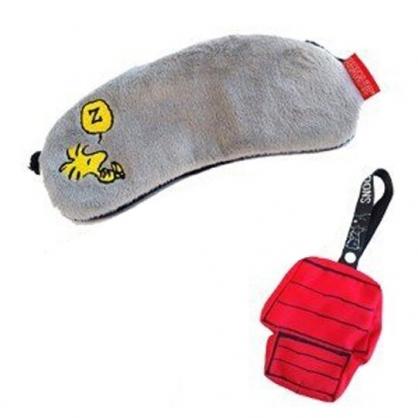〔小禮堂〕史努比 糊塗塔客 絨毛旅行用眼罩附收納包《紅灰.睡覺》居家.旅行