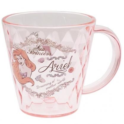 〔小禮堂〕迪士尼 小美人魚 菱格紋單耳透明塑膠小水杯《粉.半身》220ml.漱口杯.茶杯