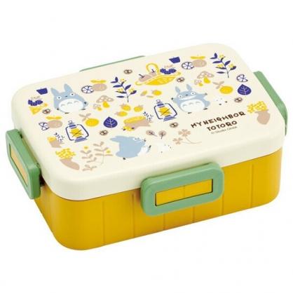 〔小禮堂〕宮崎駿Totoro龍貓 日製方形四面扣便當盒《米黃.蘑菇》650ml.保鮮盒.食物盒.餐盒