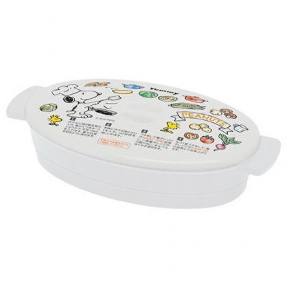 〔小禮堂〕史努比 日製橢圓形雙耳微波保鮮盒《白.廚師》370ml.歐姆蛋蒸煮盒.便當盒