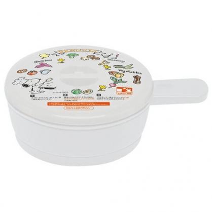 〔小禮堂〕史努比 日製圓形單耳微波保鮮盒《白.廚師》210ml.荷包蛋蒸煮盒.便當盒
