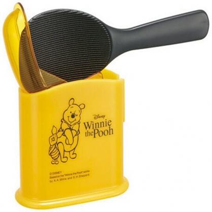 〔小禮堂〕迪士尼 小熊維尼 塑膠飯匙收納盒組《黃黑.站姿》挖匙.平匙.餐具盒
