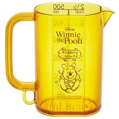 〔小禮堂〕迪士尼 小熊維尼 日製單耳透明塑膠量杯《黃.蜂蜜罐》500ml.烘焙用品