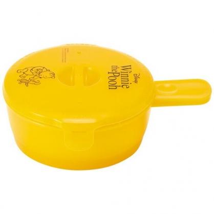 〔小禮堂〕迪士尼 小熊維尼 日製圓形單耳微波保鮮盒《黃.蜂蜜罐》210ml.荷包蛋蒸煮盒.便當盒