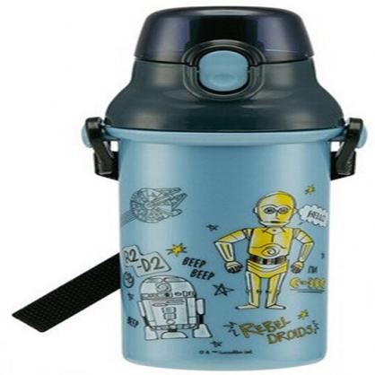 〔小禮堂〕星際大戰Star Wars 日製直飲式水壺附背帶《藍灰.機器人》480ml.水瓶.兒童水壺