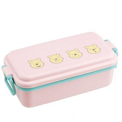 〔小禮堂〕迪士尼 小熊維尼 日製方形雙扣便當盒《粉.大臉》520ml.保鮮盒.食物盒.餐盒