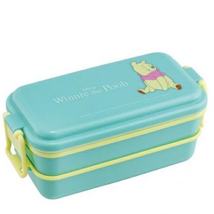 〔小禮堂〕迪士尼 小熊維尼 日製方形雙扣雙層便當盒《綠.坐姿》保鮮盒.食物盒.餐盒