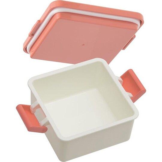 〔小禮堂〕角落生物 日製迷你雙扣方形便當盒附保冷劑《粉米.吃漢堡》220ml.保鮮盒.食物盒.餐盒