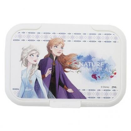 〔小禮堂〕迪士尼 冰雪奇緣 日製塑膠方形濕紙巾蓋《紫白.半身》濕巾盒蓋.密封蓋