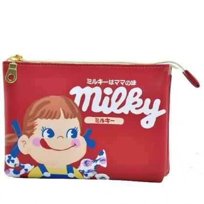 〔小禮堂〕不二家PEKO 方形皮質雙層拉鍊化妝包《紅.糖果》收納包.萬用包