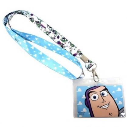 〔小禮堂〕迪士尼 玩具總動員 巴斯光年 防水透明織帶掛繩證件套《紫.大臉》證件夾.車票夾